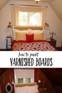 collage of a painted bedroom before and after | How to paint varnished boards white