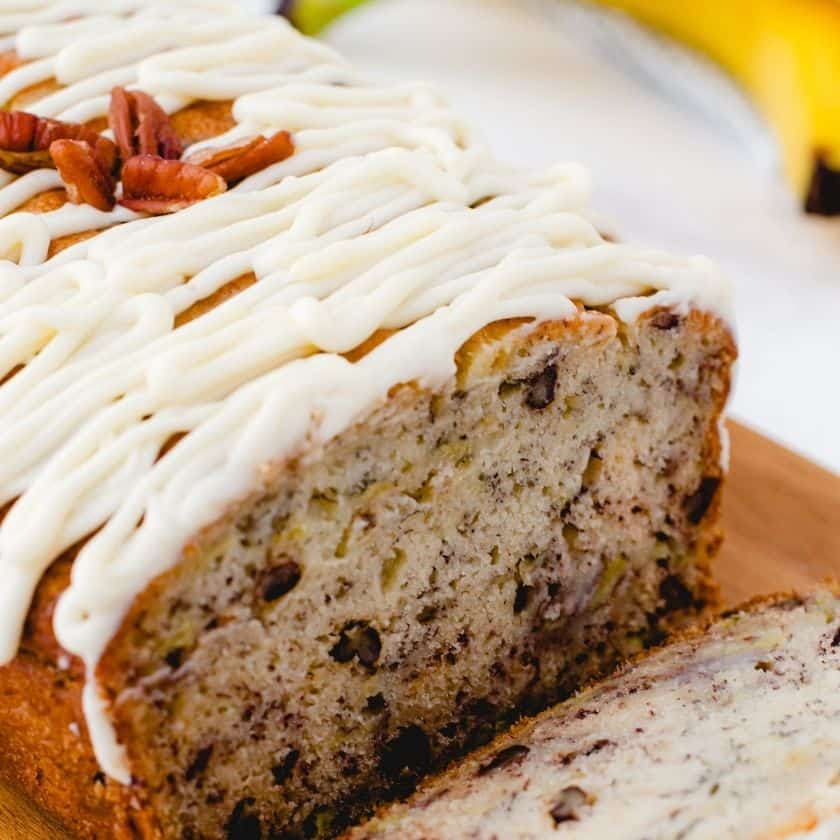 Buttermilk Banana Bread with Cream Cheese Icing