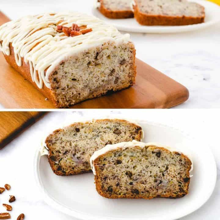 Banana Bread with Buttermilk and Cream Cheese Icing