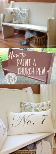 Collage of a wooden church pew that has been painted creamy white