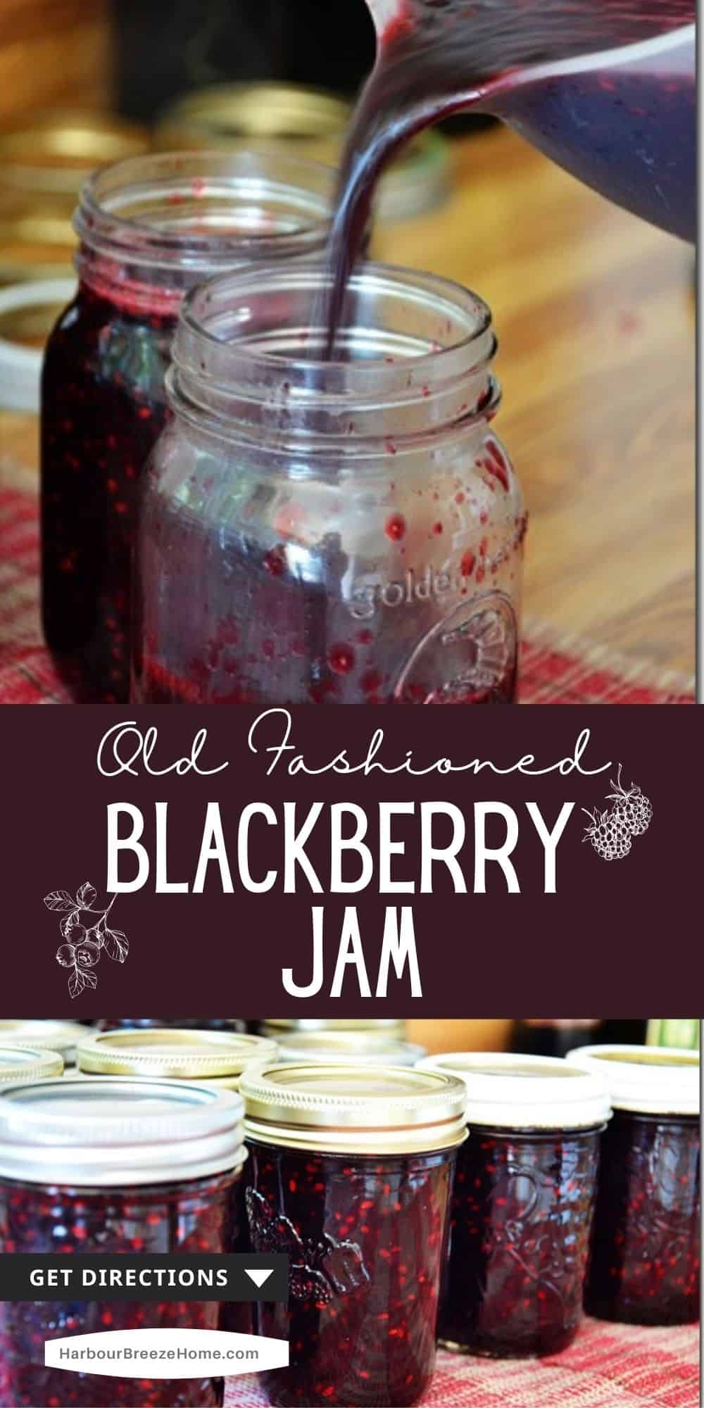 Old Fashioned Blackberry Jam being poured into jam jars
