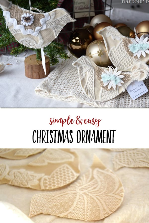 DIY Homemade Christmas Ornaments | These fabric birds made in a shabby chic style will add a farmhouse touch to your Christmas tree! #christmas #christmasornaments