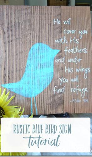 rustic blue bird sign tutorial