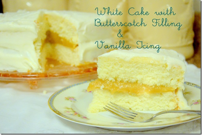How to Make a White Cake with Butterscotch Filling and Vanilla Buttercream Icing