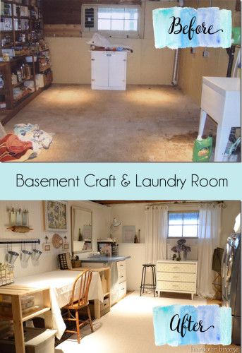 basement craft and laundry room makeover at harbourbreezehome.com