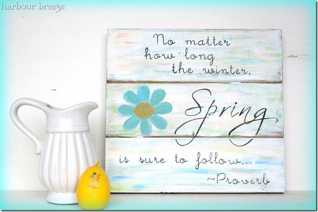 spring sign with blue vignette