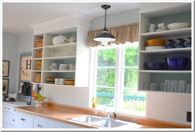 upper cupboards by stove
