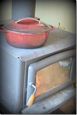 wood stove and pot