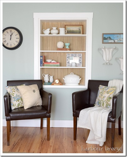 bookcase and chairs