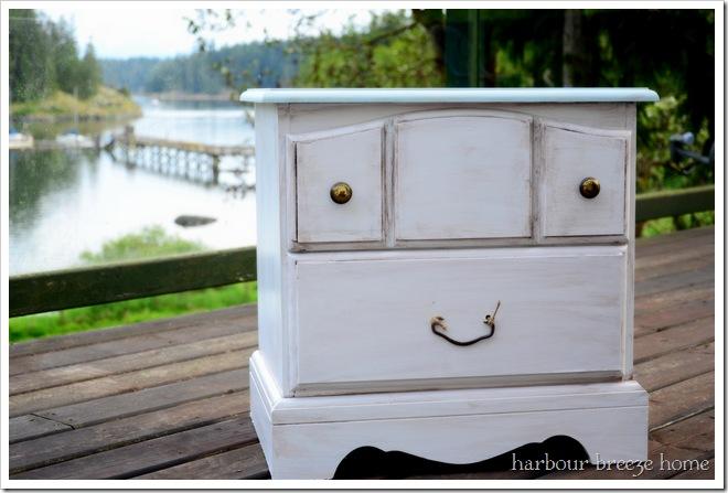 aqua and white bedside table