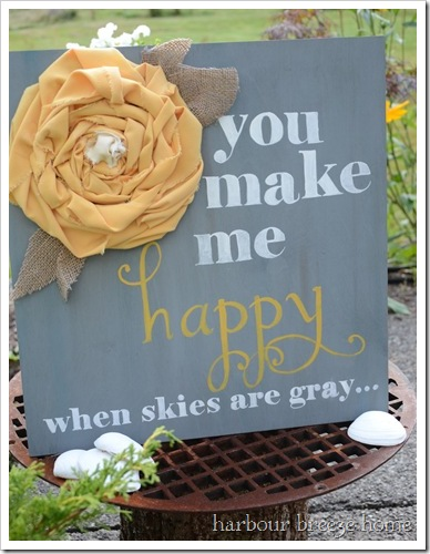 You Make Me Happy Wooden farmhouse sign with fabric flower