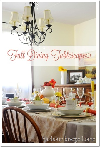 fall tablescape with words