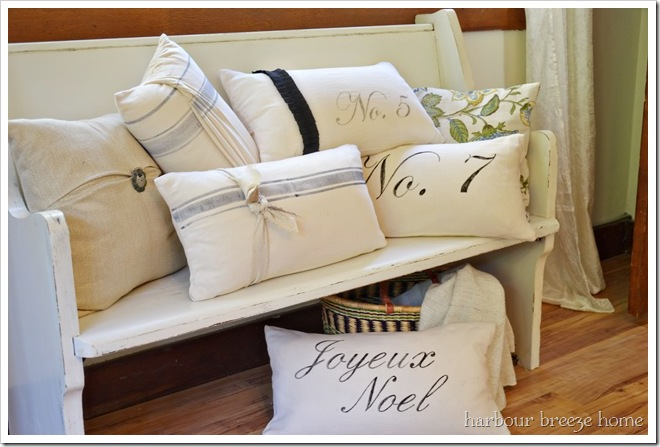 handpainted pillows made out of flour sack towels!