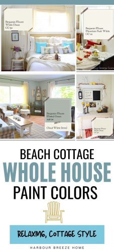 Whole house paint colors palette for a relaxing beach cottage look