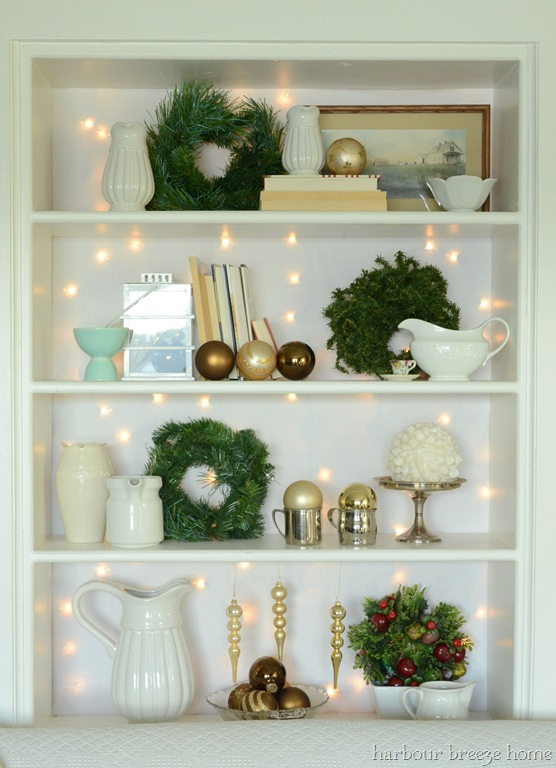 Christmas Bookcase With Twinkles Harbour Breeze Home
