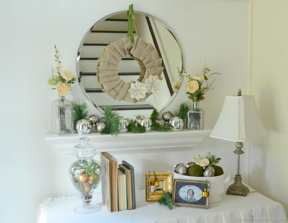 Silver white and sparkly christmas entryway harbour