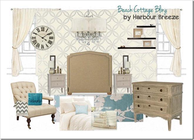 OB-Beach Cottage Bling Bedroom words
