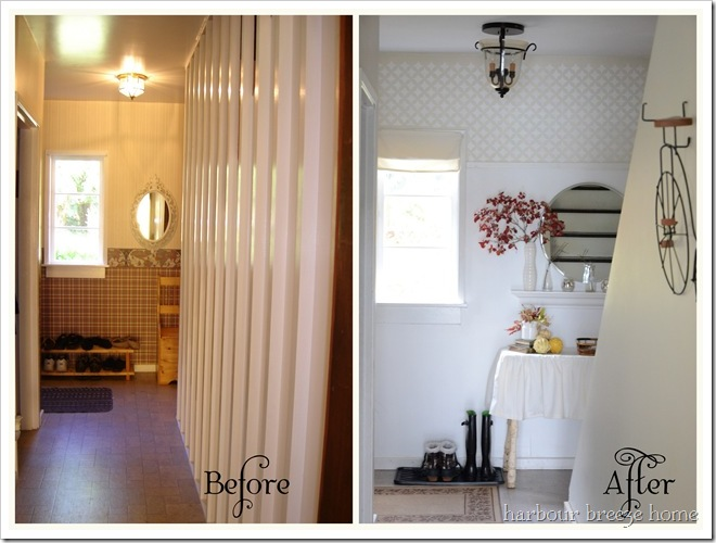 entryway before and after with words