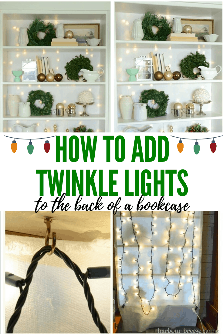 Traditional Christmas Bookcase Decor with Twinkle light backdrop