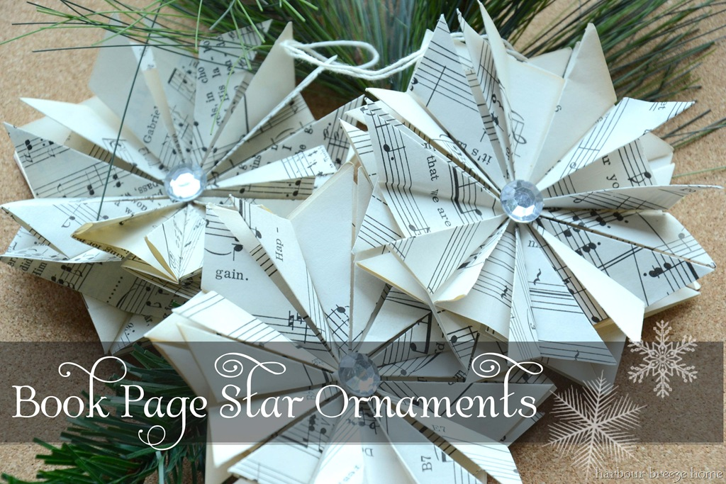 DIY Book Page Star Ornaments