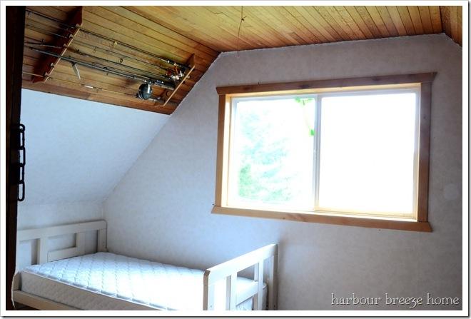 attic window wall before