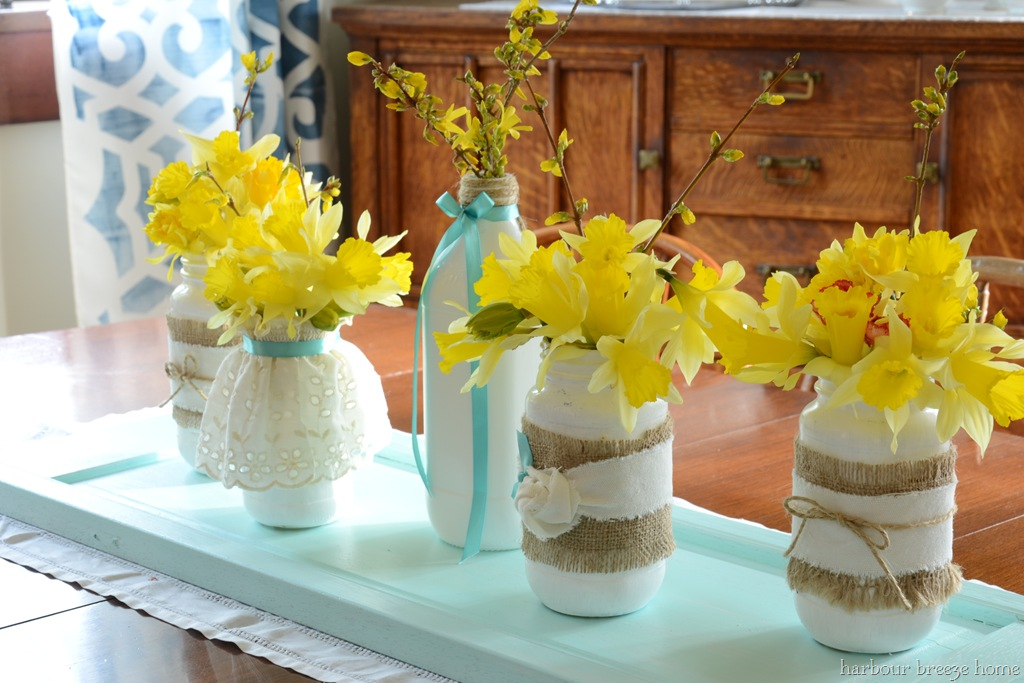 Painted mason jar centerpiece harbour breeze home