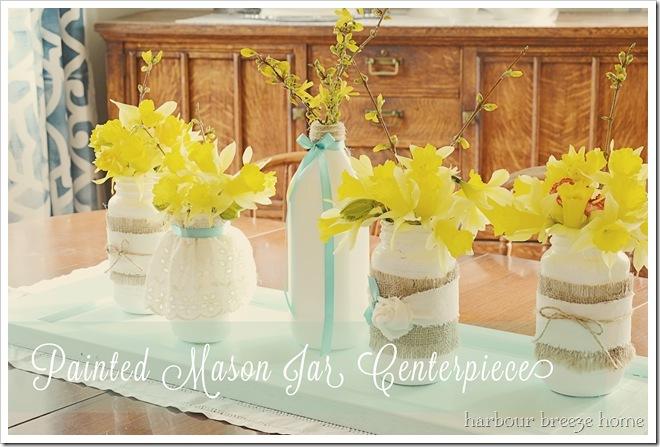 mason jar centerpiece with words