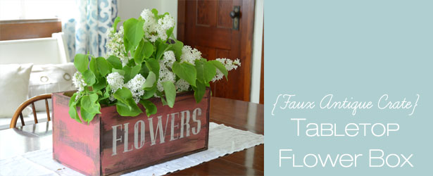 faux antique crate flower box
