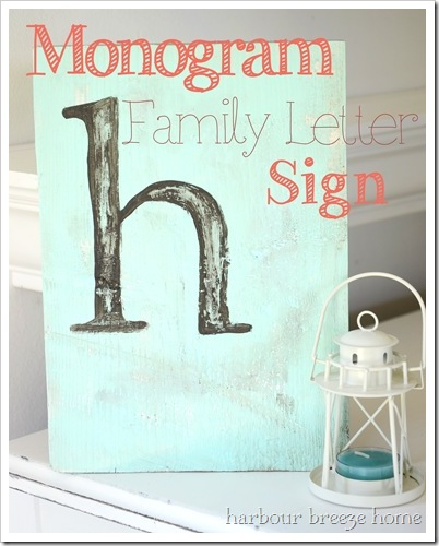 monogram letter sign with text