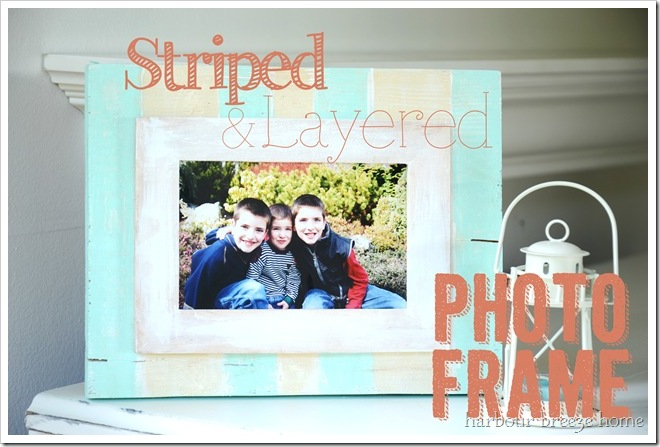 striped and layered photo frame text
