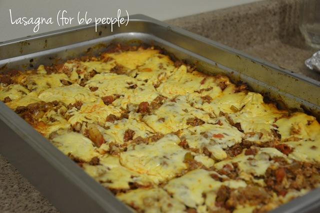 Lasagne and Fruit Crisp (for 66)