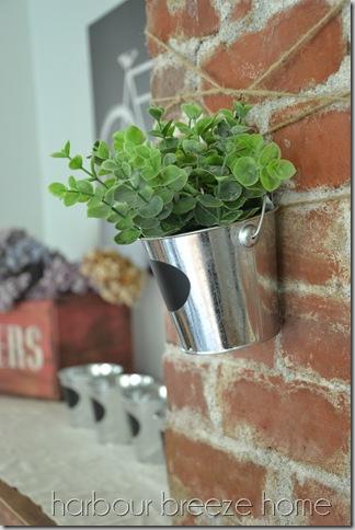 hanging plant on chimney