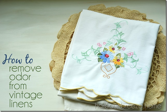 vintage linens with words