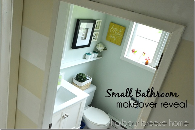 small bathroom makeover reveal with words