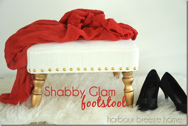shabby glam footstool with words