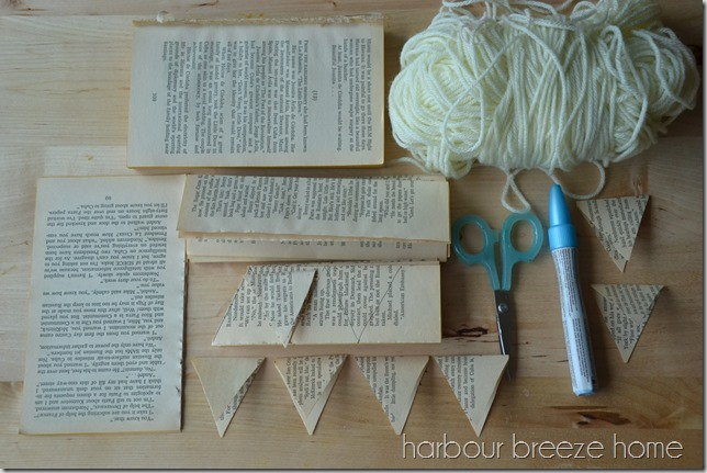 Paper Book Page Banner Garland
