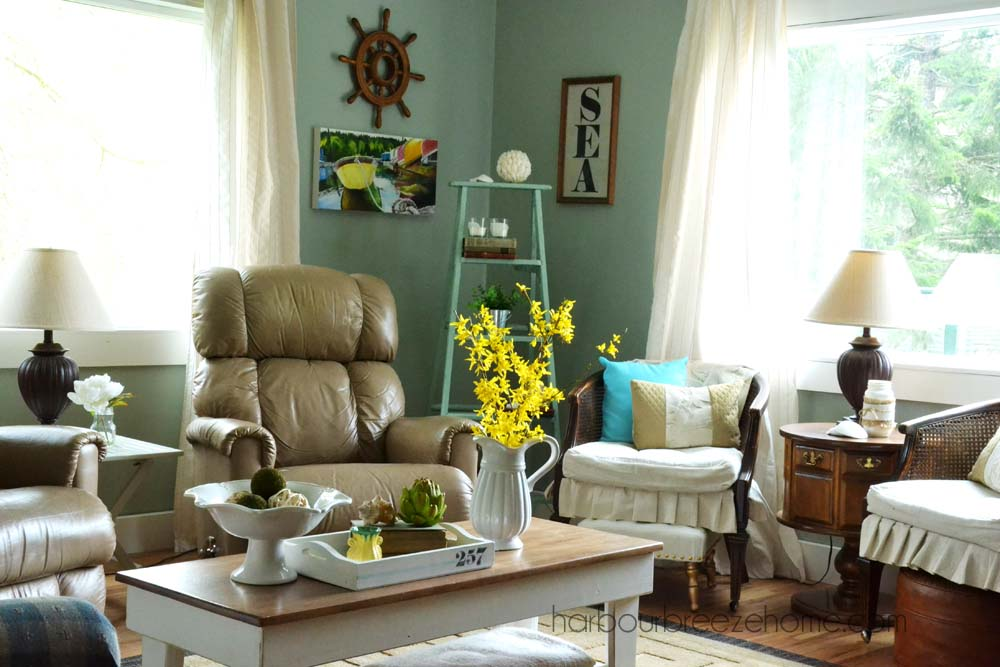 Spring living room reveal harbour breeze home for Spring living room decorating ideas