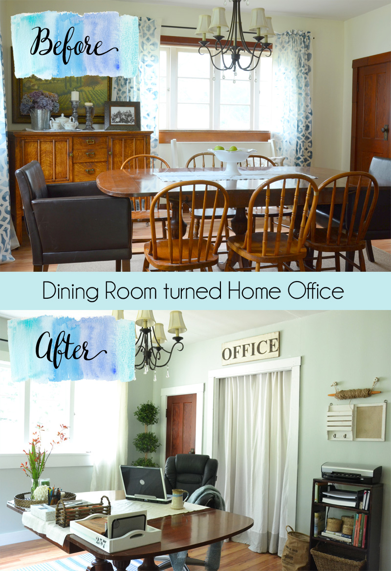 Dining Room Turned Coastal Cottage Office Turn A Rarely Used Spaced Into One Thats