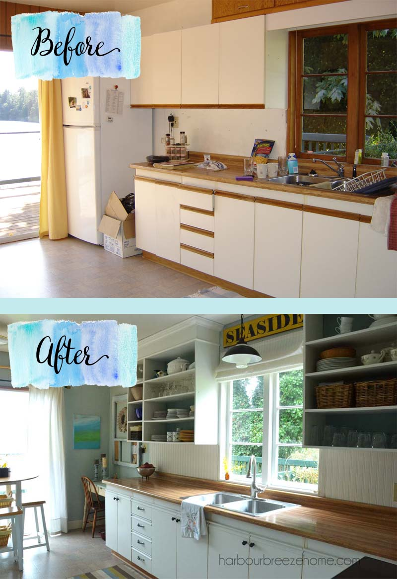 Beach Cottage Kitchen Remodel ~ For Under $200, you can make small changes with huge results! |harbourbreezehome.com