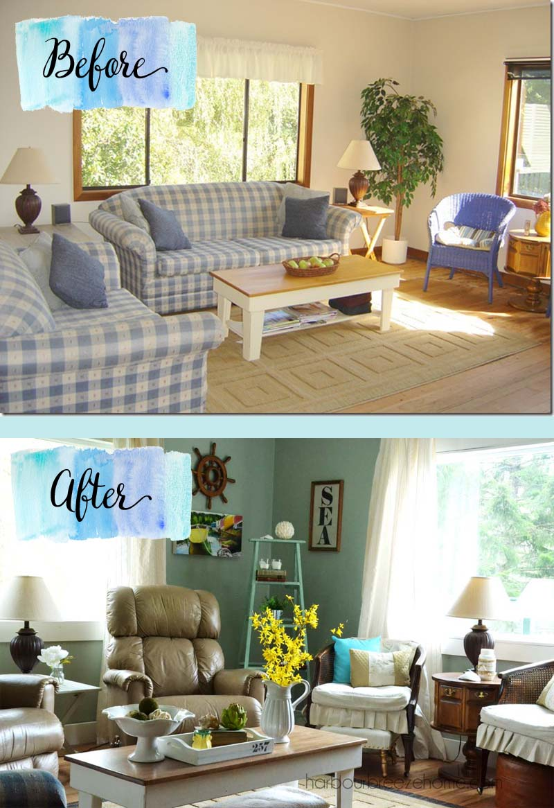 Coastal Cottage Living Room~ Coutry farmhouse meets coastal cottage | harbourbreezehome.com