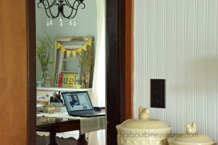 """Coastal Cottage Office~ Turn your rarely un-used Dining Room into a multi-functioning office space. Use it every day, or turn your """"desk"""" back into a table when once-a-year dinner parties happen! 