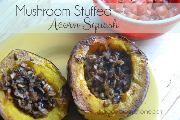 Mushroom Stuffed Acorn Squash at harbourbreezehome.com