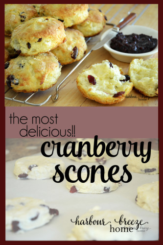 Find this simple and delicious recipe for Buttermilk Cranberry Scones at harbourbreezehome.com. It's the perfect compliment for your favorite tea (or coffee!).