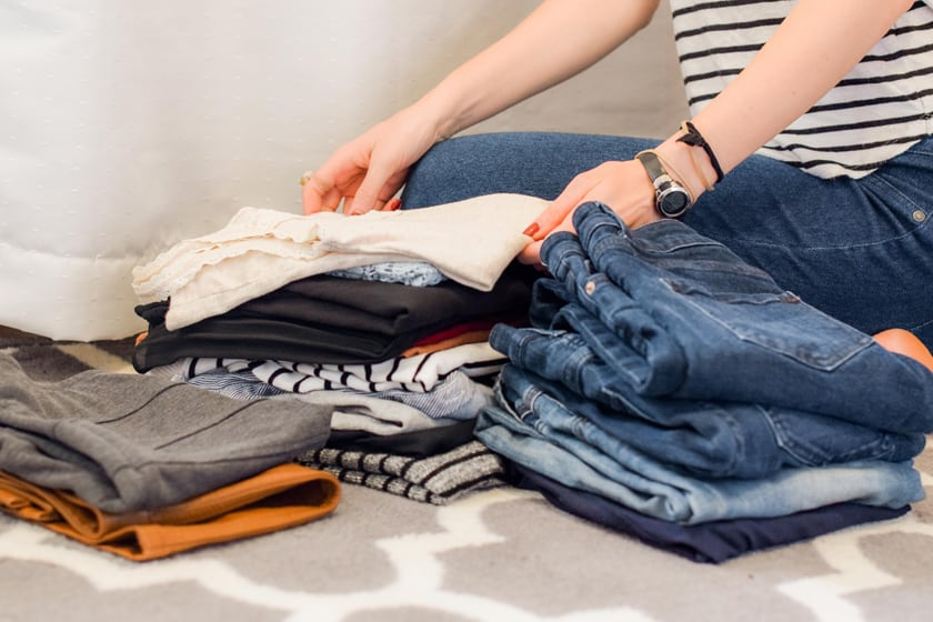 Folding pants. The konmari method of organization believes that organization and decluttering should be done in a short amount of focused time.