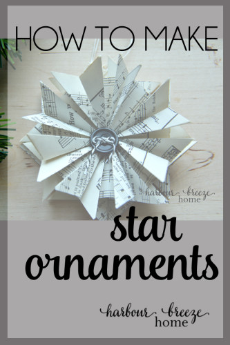 how to make paper star ornaments by RitaJoy at harbourbreezehome.com. Click to watch a video tutorial