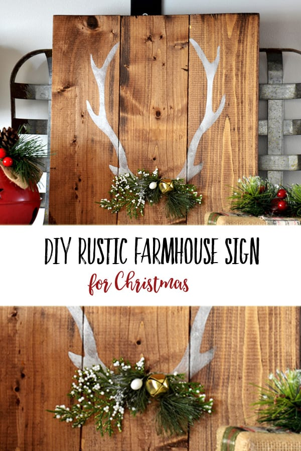 DIY Rustic Farmhouse Sign | Create a lovely decor piece or gift for someone with this Christmas farmhouse craft that is simple and budget friendly. #christmasdecor #christmascrafts #christmasgifts