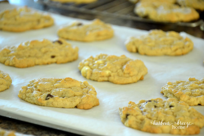 baked cookies on parchment paper