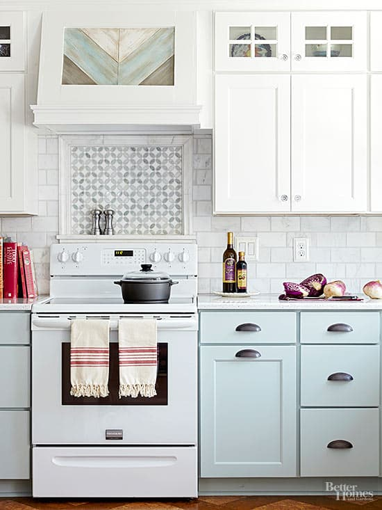 Soft Green, Blue and White Kitchen