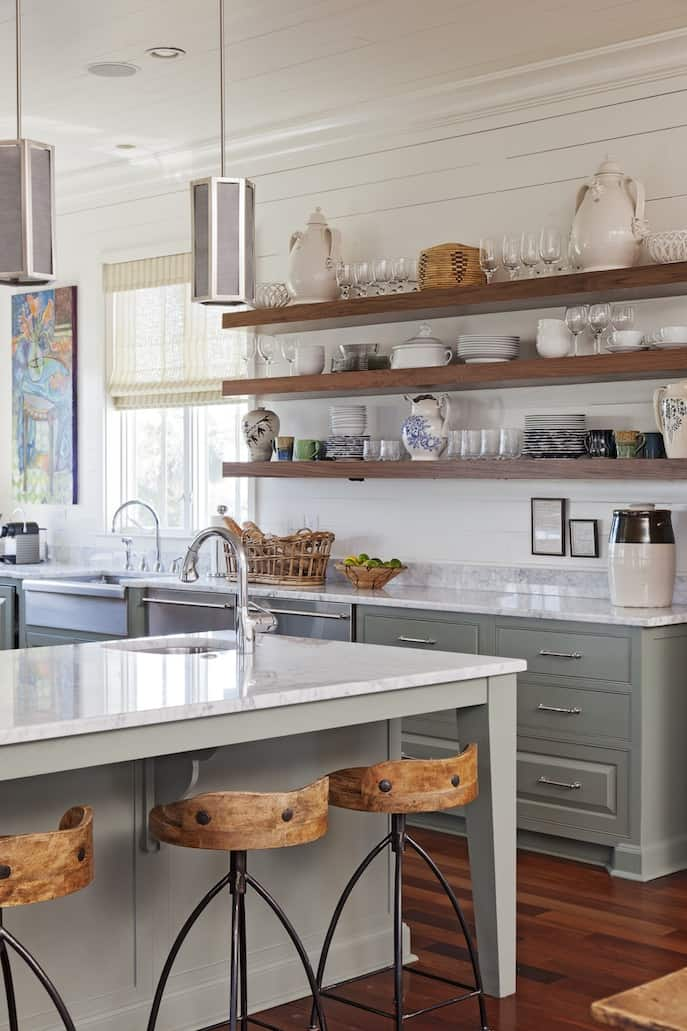 Gray and White Kitchen with Wood shelving