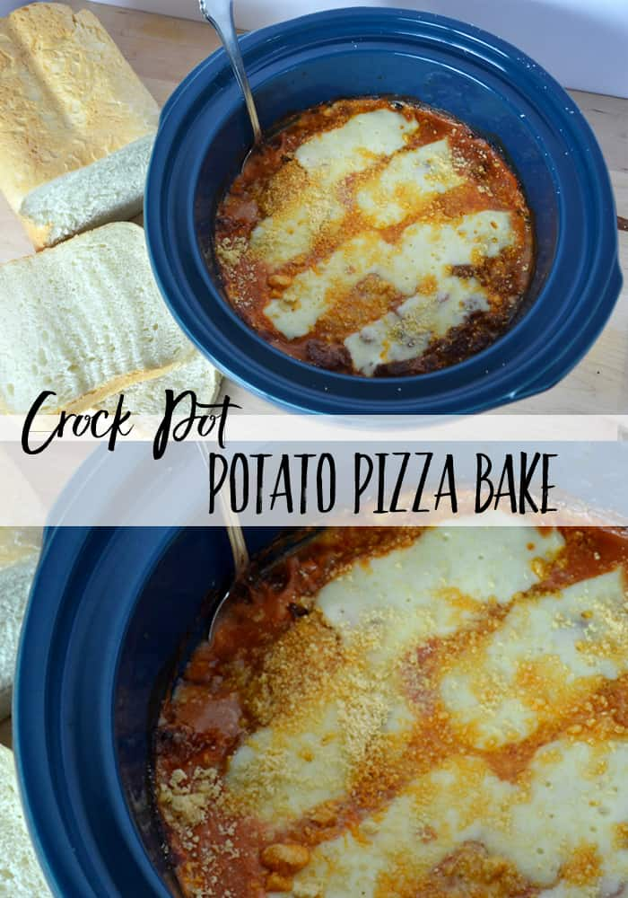 CROCK POT POTATO PIZZA BAKE | This layered crock pot casserole is a delicious, hearty meal with Italian flavour and yummy melted cheese. It's the perfect easy meal for a busy day! #crockpot #crockpotrecipe